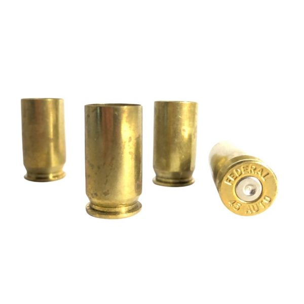 once fired 45 ACP Brass ready for reloading